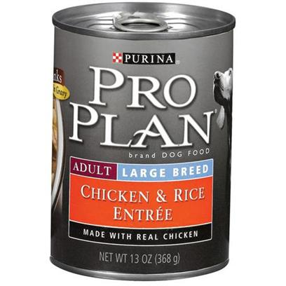 Nestle Purina Petcare Presents Purina Pro Plan Large Breed Canned Dog Food-Chicken and Rice 13oz Cans/Case of 12. About Focus Adult Large Breed Chicken &amp; Rice Entre Chunks in Gravy Made with Real Chicken for Protein and Highly Digestible Rice for Adult Dogs Weighing over 50 Lbs Balanced Nutrition Helps Support a Strong Immune System [27229]