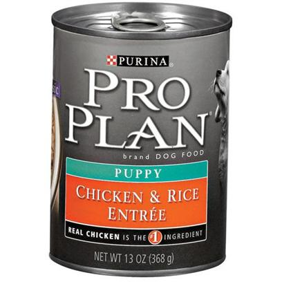 Nestle Purina Petcare Presents Purina Pro Plan Puppy-Chicken and Brown Rice Canned Dog Food 13oz Cans/Case of 12. Analysis Crude Protein (Min) - 10.0 % Crude Fat (Min) - 7.0 % Crude Fiber (Max) - 1.5 % Moisture (Max) 76.0 % [27230]