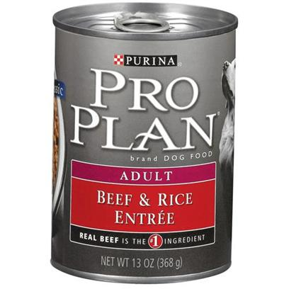 Nestle Purina Petcare Presents Purina Pro Plan Canned Beef and Rice for Adult Dogs 13oz Cans/Case of 12. Made with Real Beef for Protein and Highly Digestible Rice High-Quality Ingredients for Great Taste [27231]