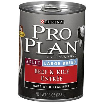 Nestle Purina Presents Purina Pro Plan Canned Large Breed Beef and Rice for Adult Dogs 13oz Cans/Case of 12. About Focus Adult Large Breed Beef &amp; Rice Entre Chunks in Gravy Made with Real Beef for Protein and Highly Digestible Rice for Adult Dogs Weighing over 50 Lbs Balanced Nutrition Helps Support a Strong Immune System [27235]