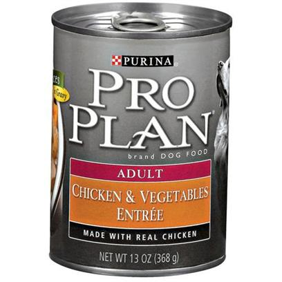 Nestle Purina Petcare Presents Purina Pro Plan Canned Chicken and Vegetables for Adult Dogs 13oz Cans/Case of 12. Analysis Crude Protein (Min) - 9.0 % Crude Fat (Min) - 2.5 % Crude Fiber (Max) - 1.5 % Moisture (Max) 82.0 % [27236]