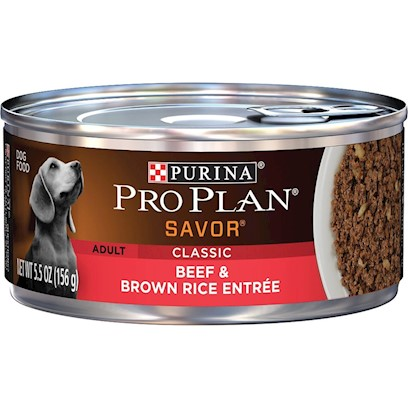 Nestle Purina Petcare Presents Purina Pro Plan Canned Beef and Brown Rice Entree for Adult Dogs 5.5oz Cans/Case of 24. Made with Real Beef Balanced Nutrition Helps Support a Strong Immune System Rich in Omega Fatty Acids for a Healthy Coat High-Quality Ingredients for Great Taste Optimal Protein and Fat Levels Help Promote Ideal Body Condition [27241]