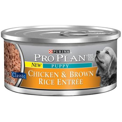 Nestle Purina Petcare Presents Purina Pro Plan Canned Chicken and Brown Rice Entree for Adult Dogs 5.5oz Cans/Case of 24. Analysis Crude Protein (Min) - 10.0 % Crude Fat (Min) - 7.0 % Crude Fiber (Max) - 1.5 % Moisture (Max) 76.0 % [27242]