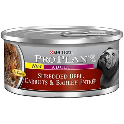 Nestle Purina Presents Purina Pro Plan Canned Shred Beef Carrots &amp; Barley for Adult Dogs 5.5oz Cans/Case of 24. About Savor Adult Shredded Beef, Carrots &amp; Barley Entre in Gravy Made with Real Beef High-Quality Ingredients for Great Taste [27243]