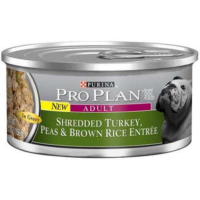 Nestle Purina Petcare Presents Purina Pro Plan Shredded Turkey Peas &amp; Brown Rice for Adult Dogs 5.5oz Cans/Case of 24. About Savor Adult Shredded Turkey, Peas &amp; Brown Rice Entre in Gravy Made with Real Turkey High-Quality Ingredients for Great Taste [27245]