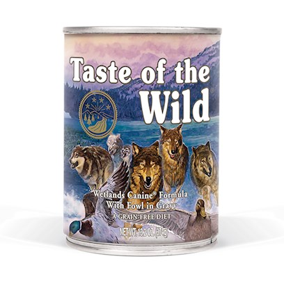 Diamond Pet Foods Presents Taste of the Wild-Wetlands Formula Canned Dog Food 13.2oz Cans/Case 12. A Great Tasting Complement to the Dry Taste of the Wild Formulas, the Wetlands Canine Formula in Gravy will Satisfy Even the Most Finicky Pets. A Complete and Balanced Formula, this Food can Even be Used as your Pet's Sole Diet. Contains Duck, Chicken, Quail and Turkey for a Blend of Fowl that Provides Optimal Amino Acid Nutrition. Like all Taste of the Wild Formulas, this Grain-Free Option Provides Excellent Nutrition without the Grains. Fruits and Vegetables Provide Natural Antioxidants. [27258]