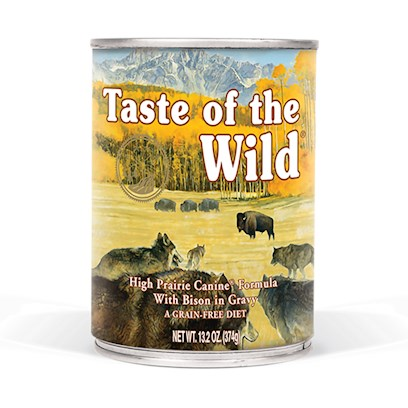 Diamond Pet Foods Presents Taste of the Wild-High Prairie with Roasted Bison and Venison Canned Dog Food 13.2oz Cans/Case 12. A Great Tasting Complement to the Dry Taste of the Wild Formulas, the High Prairie Canine Formula in Gravy will Satisfy Even the Most Finicky Dogs. A Complete and Balanced Formula, this Canned Food can also be Fed as your Dog's Sole Diet. Contains Bison, Venison and Lamb for a Blend of Quality Animal Protein Sources to Meet the Needs of your Special Pet. Peas and Potatoes are Excellent Sources of Nutrients, but also are Highly Digestible Carbohydrate Sources. Tomatoes, Blueberries and Raspberries are Antioxidant Powerhouses. [27259]