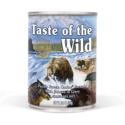 Diamond Pet Foods Presents Taste of the Wild-Pacific Stream Canned Dog Food 13.2oz Cans/Case 12. A Great Tasting Complement to the Dry Taste of the Wild Formulas, the Pacific Stream Canine Formula with Smoked Salmon will Satisfy your Pet's Taste for Wet Food. This Complete and Balanced Formula can also be your Pet's Sole Diet. Contains Salmon and Smoked Salmon, Perfect Sources of Omega-3 Fatty Acids. Sweet Potatoes, Blueberries and Raspberries are Great Sources of Natural Antioxidants for a Healthy Lifestyle. [27260]