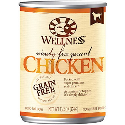 Wellpet Presents Wellness Canned Dog Food for Adult 95% Chicken 13.2oz Cans/Case of 12. The Purest Way to Add Meat to your Dog's Diet. Packed with all-Natural, Super Premium Real Beef, Wellness 95% can Recipes are a Delicious Complement to Dry Kibble. As a Mixer or a Topper, they're Simply Delicious. Key Benefits  the Highest Meat Content in a can Using Flavorful Proteins from High Quality Sources  Grain-Free and 95% Meat Formula Always all-Natural and Nothing Artificial  Naturally Palatable Flavors from Quality Proteins and Natural Meat Juices  no Wheat, Meat by-Products, or Artificial Colors, Flavors or Preservatives  Complete and Balanced, Appropriate for Growth and Maintenance [27262]