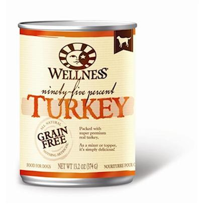 Wellpet Presents Wellness Canned Dog Food for Adult 95% Turkey 13.2oz Cans/Case of 12. The Purest Way to Add Meat to your Dog's Diet. Packed with all-Natural, Super Premium Real Beef, Wellness 95% can Recipes are a Delicious Complement to Dry Kibble. As a Mixer or a Topper, they're Simply Delicious. Key Benefits  the Highest Meat Content in a can Using Flavorful Proteins from High Quality Sources  Grain-Free and 95% Meat Formula Always all-Natural and Nothing Artificial  Naturally Palatable Flavors from Quality Proteins and Natural Meat Juices  no Wheat, Meat by-Products, or Artificial Colors, Flavors or Preservatives  Complete and Balanced, Appropriate for Growth and Maintenance [27263]