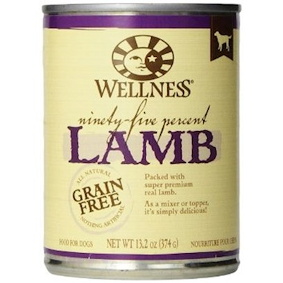 Wellpet Presents Wellness Canned Dog Food for Adult 95% Lamb 13.2oz Cans/Case of 12. The Purest Way to Add Meat to your Dog's Diet. Packed with all-Natural, Super Premium Real Beef, Wellness 95% can Recipes are a Delicious Complement to Dry Kibble. As a Mixer or a Topper, they're Simply Delicious. Key Benefits  the Highest Meat Content in a can Using Flavorful Proteins from High Quality Sources  Grain-Free and 95% Meat Formula Always all-Natural and Nothing Artificial  Naturally Palatable Flavors from Quality Proteins and Natural Meat Juices  no Wheat, Meat by-Products, or Artificial Colors, Flavors or Preservatives  Complete and Balanced, Appropriate for Growth and Maintenance Nutrition Analysis Crude Protein not Less than 6% Crude Fat not Less than 11% Crude Fiber not More than 1% Moisture not More than 78% Ingredients Lamb, Water Sufficient for Processing, Natural Flavors, Cassia Gum, Carrageenan. This is a Naturally Preserved Product. What it's Made without Meat by-Products, Corn or Corn Gluten, Soy, Artificial Preservatives, Wheat or Wheat Gluten or Artificial Flavors, Colors or Dyes [27265]