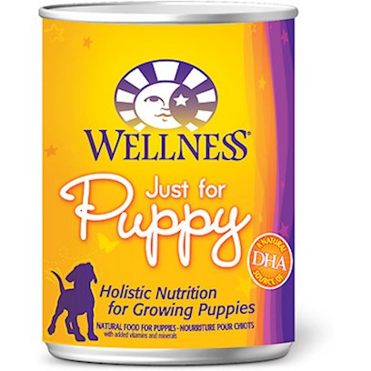 Wellpet Presents Wellness just for Puppy Canned Dog Food 6oz Cans/Case of 24. Wellness just for Puppy Canned Recipe is Nutritionally Balanced with Fruits, Vegetables, Vitamins, and Minerals to Support the Development of Strong Muscles, Bones, Organs, and Teeth. Real-Food Ingredients Include 'de-Boned' Chicken, Salmon, Barley, Flaxseed, Carrots, Sweet Potatoes, Apples and Pears. [27269]