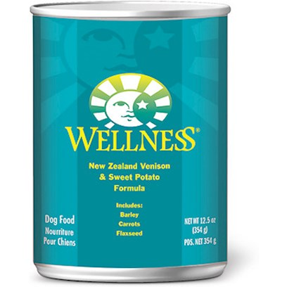 Wellpet Presents Wellness Canned Dog Food for Adult Venison &amp; Sweet Potato Recipe 6oz Cans/Case of 24. Water is an Extremely Important Nutrient with Respect to a DogS Overall Well-Being. Formulated with the Same Whole Food Philosophy as our Kibble  Complete and Balanced Nutrition Using only the Finest Ingredients  Wellness Canned Foods are an Easy Way to Increase your DogS Water Intake. Wellness Venison &amp; Sweet Potato Recipe is an Excellent Source of High Quality Protein and Essential Fatty Acids. Venison is the Most Plentiful Ingredient because it is a Delicious, Digestible Protein Source. The Sweet Potatoes Provide your Dog with an Excellent Source of Vitamins, Minerals and Beta-Carotene. As a Special Treat or as Part of your Regular Feeding, Wellness Canned Foods are yet Another Delicious Way for your Dog to Eat Healthy. Key Benefits  a Blend of Fruits and Vegetables for Antioxidant Support  High Quality Protein Sources  Sweet Potatoes as an Excellent Source of Vitamins, Minerals and Beta-Carotene  no Wheat, Meat by-Products, or Artificial Colors, Flavors or Preservatives  Complete and Balanced, Appropriate for Growth and Maintenance Nutrition Analysis Crude Protein not Less than 8.0% Crude Fat not Less than 5.0% Crude Fiber not More than 1.0% Moisture not More than 78.0% Ingredients Venison, Venison Broth, Venison Liver, Ground Barley, Sweet Potatoes, Carrots, Ground Flaxseed, Canola Oil, Guar Gum, Salt, Tricalcium Phosphate, Potassium Chloride, Carrageenan, Iron Proteinate, Zinc Proteinate, Choline Chloride, Vitamin E Supplement, Cobalt Proteinate, Copper Proteinate, Manganese Proteinate, Riboflavin Supplement, Sodium Selenite, Thiamine Mononitrate, Vitamin a Supplement, Vitamin B12 Supplement, Potassium Iodide, Biotin, Vitamin D3 Supplement. What it's Made without Meat by-Products, Corn or Corn Gluten, Soy, Artificial Preservatives, Wheat or Wheat Gluten or Artificial Flavors, Colors or Dyes [27270]