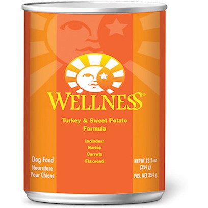 Wellpet Presents Wellness Canned Dog Food for Adult Turkey &amp; Sweet Potato Recipe 12.5oz Cans/Case of 12. Wellness Turkey &amp; Sweet Potato Recipe is an Excellent Source of High Quality Protein. We Use High Quality Turkey as our Most Plentiful Ingredient because it is a Delicious, Digestible Protein Source. The Sweet Potatoes Provide your Dog with an Excellent Source of Vitamins, Minerals and Beta-Carotene. [27273]