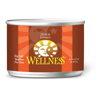 Wellpet Presents Wellness Canned Dog Food for Senior 6oz Cans/Case of 24. Water is an Extremely Important Nutrient with Respect to a Dog's Overall Well-Being. Formulated with the Same Whole Food Philosophy as our Kibble  Complete and Balanced Nutrition Using only the Finest Ingredients  Wellness Canned Foods are an Easy Way to Increase your Dog's Water Intake. Wellness Senior Recipe Contains the Reduced Calories and Phosphorus, Increased Fiber and Moderate Levels of Protein and Fat Needed by Aging Dogs. Real Food Ingredients Include High Quality Chicken for a Protein Source, Fiber for Digestive Health, Sweet Potatoes and Carrots for Healthy Eye and Hearts, Whitefish for a Healthy Coat and a Blend of Fruits and Vegetables for Antioxidant Support. [27276]