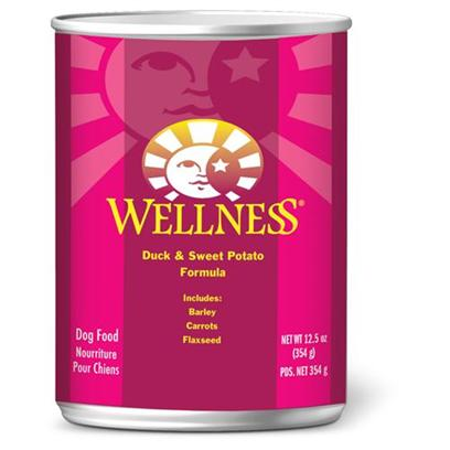 Wellpet Presents Wellness Canned Dog Food for Adult Duck &amp; Sweet Potato Recipe 6oz Cans/Case of 24. Water is an Extremely Important Nutrient with Respect to a Dog's Overall Well-Being. Formulated with the Same Whole Food Philosophy as our Kibble  Complete and Balanced Nutrition Using only the Finest Ingredients  Wellness Canned Foods are an Easy Way to Increase your Dog's Water Intake. Wellness Duck &amp; Sweet Potato Recipe is an Excellent Source of High Quality Protein and Essential Fatty Acids, Made with Naturally Preserved Duck Meat. Duck &amp; Sweet Potato Recipe is Made with High Quality Deboned Duck has been Specifically Chosen for its Lean Quality and its Powerful Nutritional Attributes. The Sweet Potatoes Provide your Dog with an Excellent Source of Vitamins, Minerals and Beta-Carotene. As a Special Treat or as Part of your Regular Feeding, Wellness Canned Foods are yet Another Delicious Way for your Dog to Eat Healthy. Key Benefits  a Blend of Fruits and Vegetables for Antioxidant Support  High Quality Protein Sources  Sweet Potatoes as an Excellent Source of Vitamins, Minerals and Beta-Carotene  no Wheat, Meat by-Products, or Artificial Colors, Flavors or Preservatives  Complete and Balanced, Appropriate for Growth and Maintenance Nutrition Analysis Crude Protein not Less than 8.0% Crude Fat not Less than 5.0% Crude Fiber not More than 1.0% Moisture not More than 78.0% Ingredients Duck, Duck Broth, Turkey, Chicken Liver, Sweet Potatoes, Ground Barley, Carrots, Carrageenan, Ground Flaxseed, Potassium Chloride, Whitefish, Guar Gum, Salt, Canola Oil, Iron Proteinate, Zinc Proteinate, Choline Chloride, Vitamins E Supplement, Manganese Proteinate, Riboflavin Supplement, Sodium Selenite, Thiamine Mononitrate, Vitamin a Supplement, Vitamin B-12 Supplement, Potassium Iodide, Biotin, Vitamin D-3 Supplement. What it's Made without Meat by-Products, Corn or Corn Gluten, Soy, Artificial Preservatives, Wheat or Wheat Gluten or Artificial Flavors, Colors or Dyes [27279]