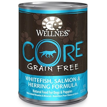 Wellpet Presents Wellness Grain Free Canned Food for Adult Dogs Core Salmon Whitefish &amp; Herring Recipe 6oz Cans/Case of 24. Wellness Core is Based on the Raw Feeding Philosophy of Providing Nutrient-Rich, High-Quality Meat to a Dog's Diet. Each Grain-Free Recipe is Packed with Meat from Deboned Turkey and Chicken, Turkey Meal, Chicken Meal, Whitefish Meal and Chicken Liver Along with a Proprietary Blend of Fruits, Vegetables, Oils and Botanicals that Nurture your Dog to the Core. Core Cans are a Tasty Complement to your Dog's Grain-Free Feeding Program. Formulated with 5 Premium Protein Sources, Core Salmon, Whitefish &amp; Herring Recipe Delivers the Meat Content You're Looking for without the Excess Fat or Calories. It has 50% More Protein than Super5mix Wellness Diets and is 100% Grain-Free and Poultry-Free. Key Benefits  Carefully Regulated and Guaranteed Mineral Levels to Support Overall Metabolic Function  Greens &amp; Botanicals for Preventative Health Benefits  Fish &amp; Flax Omega Blend for Healthy Skin and Coat  Great Compliment to Wellness Core Ocean Formula  Contains no Meat by-Products, Wheat, Corn, Soy, Artificial Colors, Flavors or Preservatives Nutrition Analysis Crude Protein Min. 12% Crude Fat Min. 7.0% Crude Fiber Max. 0.50% Moisture Max. 78% Ingredients Salmon, Whitefish, Herring, Mackerel, Salmon Broth, Salmon Meal, Sweet Potatoes, Salmon Oil, Canola Oil, Ground Flaxseed, Carrageenan, Guar Gum, Carrots, Apples, Spinach, Parsley, Blueberries, Broccoli, Kale, Chicory Root Extract, Yucca Schidigera Extract, Potassium Chloride, Iron Proteinate, Zinc Proteinate, Vitamin E Supplement, Choline Chloride, Cobalt Proteinate, Copper Proteinate, Thiamine Mononitrate, Manganese Proteinate, Folic Acid, Niacin, Sodium Selenite, D-Calcium Pantothenate, Vitamin D-3 Supplement, Pyridoxine Hydrochloride, Riboflavin Supplement, Vitamin a Supplement, Potassium Iodide, Vitamin B-12 Supplement, Biotin. This is a Naturally Preserved Product. What it's Made without Meat by-Products, Corn or Corn Gluten, Soy, Artificial Preservatives, Wheat or Wheat Gluten or Artificial Flavors, Colors or Dyes [27284]
