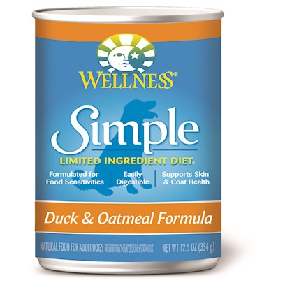 Wellpet Presents Wellness Simple Canned Duck &amp; Oatmeal Formula 12.5oz Cans/Case of 12. At Wellness, Every Ingredient Chosen has a Purpose, Especially when it Comes to Dogs with Food Sensitivities. This Natural, Limited-Ingredient Diet Dog Food Recipe Keeps it Simple with a Single Source of Protein and Easily Digestible Carbohydrates, without Extra Fillers or Additives. This Short, yet Complete, List of Key Ingredients Nourishes Simply and Completely from the Inside out with Results you can See. Just Like all Wellness Dog Food Recipes, what Stays out is as Important as what Goes in, Wellness does not Use Wheat, Corn, Soy, Gluten or Artificial Preservatives, Colors or Flavors in this Simple Formula. As Animal Lovers, Nutritionists and Vets, their Mission is to Provide your Pet a Healthy, Happy, Long Life through the Power of Natural Nutrition. Talk to your Vet About this Natural Alternative to Therapeutic Prescription Diets. The Choice for Natural Relief is Simple. Contains no Meat by-Products, Wheat, Gluten, Corn, Dairy, Eggs, Artificial Preservatives, Colors or Flavors ' [27286]