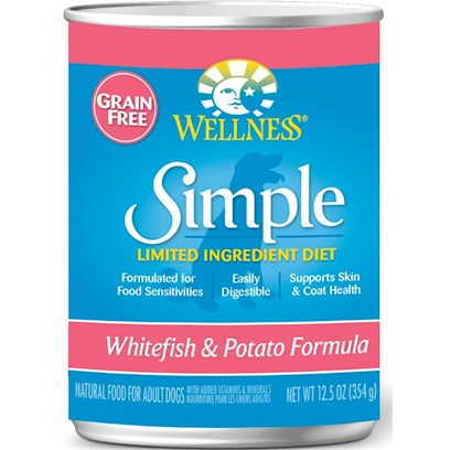 Wellpet Presents Wellness Simple Salmon &amp; Potato Formula Canned Dog Food 12.5oz Cans-Case of 12. 'At Wellness, Every Ingredient Chosen has a Purpose, Especially when it Comes to Dogs with Food Sensitivities. This Natural, Limited-Ingredient Diet Dog Food Recipe Keeps it Simple with a Single Source of Protein and Easily Digestible Carbohydrates, without Extra Fillers or Additives. This Short, yet Complete, List of Key Ingredients Nourishes Simply and Completely from the Inside out with Results you can See. Just Like all Wellness Dog Food Recipes, what Stays out is as Important as what Goes in, Wellness does not Use Wheat, Corn, Soy, Gluten or Artificial Preservatives, Colors or Flavors in this Simple Formula. As Animal Lovers, Nutritionists and Vets, their Mission is to Provide your Pet a Healthy, Happy, Long Life through the Power of Natural Nutrition. [27287]