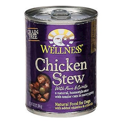 Wellpet Presents Wellness Canned Dog Food for Adult Chicken Stew with Peas &amp; Carrots Recipe 12.5oz Cans/Case of 12. Chicken Stew with Peas &amp; Potatoes is a Natural, Grain-Free, Home-Style Stew with Tender Cuts in Savory Gravy. It's an Everyday Entre that is a Delicious and Nutritious Way to Make More out of Mealtime. These Deliciously Chunky, Slow-Cooked Classics Use Whole Food Ingredients that Provide Exceptional Nutrition and Extraordinary Flavor. As a Special Treat or as Part of your Regular Feeding, Wellness Canned Foods are yet Another Delicious Way for your Dog to Eat Healthy. Key Benefits  a Healthy and Delicious Way to Mix or Top any Meal to Add Flavor and Taste to Dry Food  Made with Wholesome, Healthy, Natural Ingredients  Fortified with Vitamins, Minerals and Antioxidants  no Wheat, Meat by-Products, or Artificial Colors, Flavors or Preservatives  Complete and Balanced, Appropriate for Growth and Maintenance [27289]