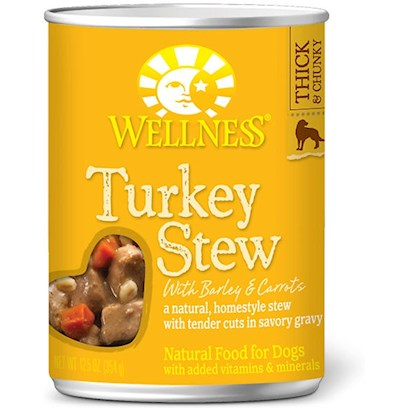 Wellpet Presents Wellness Canned Dog Food for Adult Turkey Stew with Barley &amp; Carrots 12.5oz Cans/Case of 12. These Deliciously Chunky, Slow-Cooked Classics Use Whole Food Ingredients that Provide Exceptional Nutrition and Extraordinary Flavor. [27291]