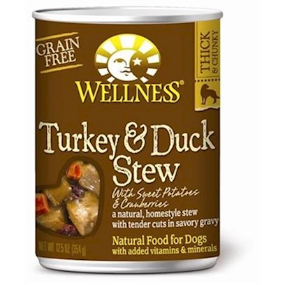Wellpet Presents Wellness Canned Dog Food for Adult Turkey &amp; Duck Stew with Sweet Potatoes Cranberries 12.5oz Cans/Case of 12. A Natural, Grain-Free, Home-Style Stew with Tender Cuts in Savory Gravy. It's an Everyday Entre that is a Delicious and Nutritious Way to Make More out of Mealtime. These Deliciously Chunky, Slow-Cooked Classics Use Whole Food Ingredients that Provide Exceptional Nutrition and Extraordinary Flavor. Key Benefits  a Healthy and Delicious Way to Mix or Top any Meal to Add Flavor and Taste to Dry Food  Made with Wholesome, Healthy, Natural Ingredients  Fortified with Vitamins, Minerals and Antioxidants  no Wheat, Meat by-Products, or Artificial Colors, Flavors or Preservatives  Complete and Balanced, Appropriate for Growth and Maintenance [27292]