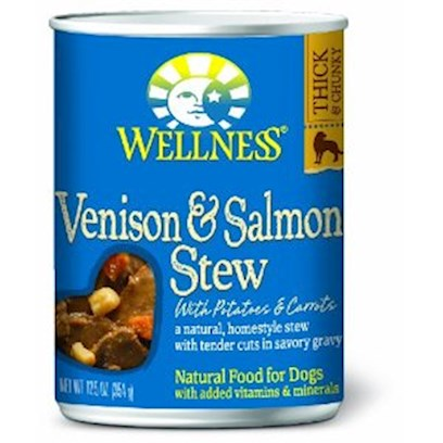 Wellpet Presents Wellness Canned Dog Food for Adult Venison &amp; Salmon Stew with Potatoes Carrots 12.5oz Cans/Case of 12. These Deliciously Chunky, Slow-Cooked Classics Use Whole Food Ingredients that Provide Exceptional Nutrition and Extraordinary Flavor. [27293]