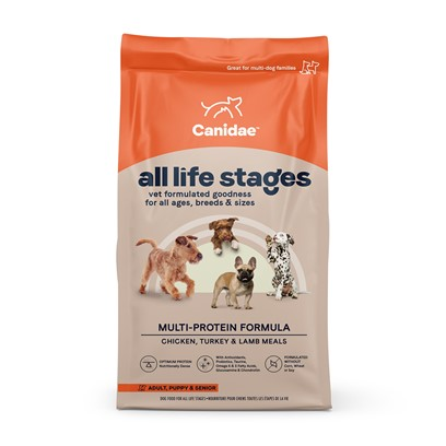 "Canidae Presents Canidae all Life Stages Formula Dry Dog Food 35lb Bag. Canidae all Life Stages Formula Dry Dog Food is an all Natural Dog Formula, Designed for Dogs of all Ages, and Lifestyles. Made with Usda Approved Meat, and a Balanced Nutritious Mix of Fruits and Vegetables, your Dog will Love Canidae all Life Stages Formula Dry Dog Food. Reviewers Say their Dogs' 'Coats are Very Shiny, and Soft,"" Due to the High Quality Ingredients, Designed for Maximum Benefit for all your Dogs. [27296]"