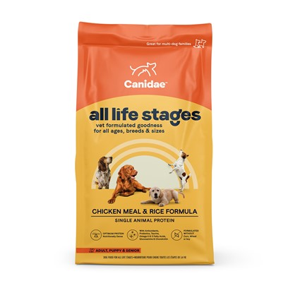 Canidae Presents Canidae-Chicken Meal and Rice Formula Dry Dog Food 30lb Bag. Natural Dog Food Formula with Four High Quality Meat Meals Chicken, Turkey, Lamb, &amp; Fish  Dogs Love the Taste!Canidae all Life Stages Formula is Formulated to Meet the Nutritional Levels Established by the Aafco Dog Food Nutrient Profiles for all Life Stages.Natural Holistic Benefits High Quality Chicken Meal as the Main Protein Source Natural, High Quality, Holistic Pet Food Natural Ingredients Plus Essential Vitamins &amp; Amino Acid Chelated Minerals Naturally Preserved Herbal Formulation Excellent Palatability - Dogs Love Canidae! Contains Skin &amp; Coat Conditioners to Maintain a Health Luxurious Coat Balanced Omega 6 &amp; 3 Fatty Acids Wholesome Nutritional Brown Rice &amp; Diversified Carbohydrates Superior Digestibility Guaranteed Viable Micro-Organisms Guaranteed Enzyme Activity to Help Break Down Cellulose Made the Canidae Way with Superior Quality no Corn, Wheat, Soy, Grain Fractions or Fillers and Naturally Preserved [27299]
