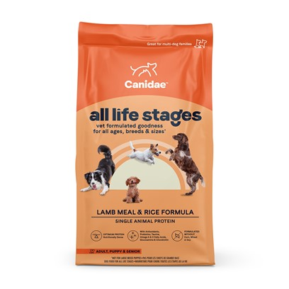 Canidae Presents Canidae Lamb Meal and Rice Formula-Dry Dog Food &amp; Dry 15lb. Analysis Lenoleic Acid (Omega 6)3.55% Calcium1.40% Phosphorus1.00% Alpha Linolenic Acid (Omega 3)0.50% Crude Protein 21.00% Crude Fat 12.50% Moisture10.00% [27303]