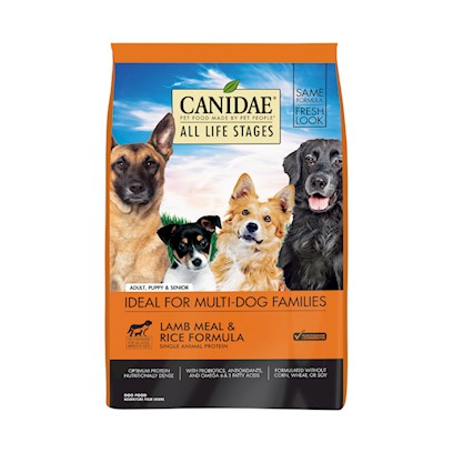 Canidae Presents Canidae Lamb Meal and Rice Formula-Dry Dog Food &amp; Dry 15lb. Natural Dog Food Formula with Four High Quality Meat Meals Chicken, Turkey, Lamb, &amp; Fish  Dogs Love the Taste!Canidae all Life Stages Formula is Formulated to Meet the Nutritional Levels Established by the Aafco Dog Food Nutrient Profiles for all Life Stages. All Life Stages Formulanatural Holistic Benefits Four High Quality Meat Meals Chicken, Turkey, Lamb, &amp; Fish Natural, High Quality, Holistic Pet Food Natural Ingredients Plus Essential Vitamins &amp; Amino Acid Chelated Minerals Naturally Preserved Herbal Formulation Excellent Palatability - Dogs Love Canidae Contains Skin &amp; Coat Conditioners to Maintain a Healthy Luxurious Coat Balanced Omega 6 &amp; 3 Fatty Acids Wholesome Nutritional Brown Rice &amp; Diversified Carbohydrates Superior Digestibility Guaranteed Viable Micro-Organisms Guaranteed Enzyme Activity to Help Break Down Cellulose Made the Canidae Way with Superior Quality no Corn, Wheat, Soy, Grain Fractions or Fillers and Naturally Preserved [27303]