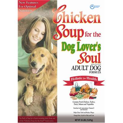 Diamond Pet Foods Presents Chicken Soup for the Dog's Lover's Soul-Adult Dog Formula 18lb Bag. Comfort Food for your Dog thereS Nothing Quite Like a Warm, Relaxing Cup of Chicken Noodle Soup. Now your Dog can Enjoy that Same Comforting Pleasure with Chicken Soup for the Dog Lover's Soul. This Dry Food Formula is Made for Dogs Ages One Year Old and Up. It Contains Classic Ingredients, Such as Chicken and Duck, while also Promoting a Healthy Diet with Low-Allergenic, Quality Carbohydrates Like Oatmeal and Rice. Give your Pup the Strength they Need to Maintain an Active Lifestyle with Chicken Soup Adult Dog Food, which also Contains no by-Products and Comes in a Round Kibble that Helps to Clean Teeth and Reduce Plaque. [27313]