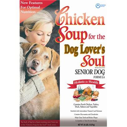 Diamond Pet Foods Presents Chicken Soup for the Dog Lover's Soul-Senior Formula 35lb Bag. Helps Slow Down the Effects of Aging through a Special Combination of Vitamins, Minerals and Antioxidants, Plus Contains Glucosamine and Chondroitin for Optimal Joint Health. [27315]