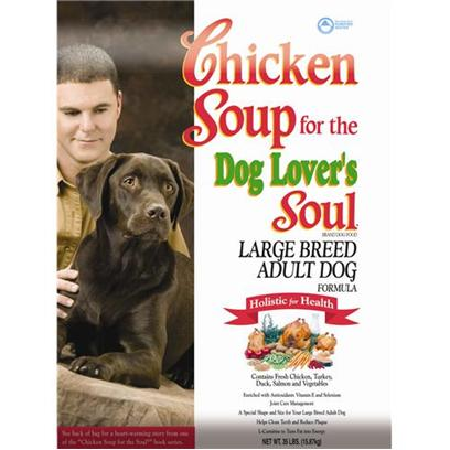 Diamond Pet Foods Presents Chicken Soup for the Dog Lover's Soul-Large Breed Adult Formula Dry Food 35lb Bag. All Natural Flavor and Nutrition for Large Breeds Give your Large Breed Dog a Natural and Delicious Meal Specially Formulated to Meet their Nutritional Needs! One of the Biggest Issues Affecting Large Breed Dogs is Joint Health, and this Formula Includes the Natural Compounds Glucosamine and Chondroitin that Reduce Inflammation and Promote Joint Wellness. [27318]