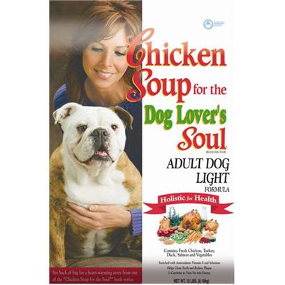 Diamond Pet Foods Presents Chicken Soup for the Dog Lover's Soul-Adult Light Formula 18lb Bag. Enriched with Key Antioxidants and L-Carnitine, this Specially Balanced Diet Helps Adult Dogs Turn Fat into Energy. Low Fat and High Fiber will Help Overweight Dogs Return to a Healthy Lean Body Condition. [27322]