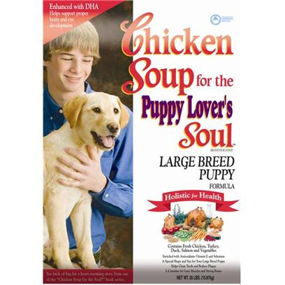 Diamond Pet Foods Presents Chicken Soup for the Dog Lover's Soul-Large Breed Puppy Formula Dry Food 35lb Bag. Chicken Soup for the Puppy LoverS Soul Specially Formulated to Build Lean Muscles and Strong Bones in your Large Breed Puppy, this Antioxidant-Rich Diet also Contains Dha for Proper Eye and Brain Development. [27323]