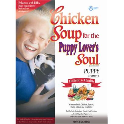 Diamond Pet Foods Presents Chicken Soup for the Dog Lover's Soul-Puppy Formula 18lb Bag. Formulated Specifically for a Growing Puppy, this Diet Contains Dha (Docosahexaenoic Acid) for Proper Eye and Brain Development, and is the Nutritional Base for a Happy, Healthy and Vibrant Dog. [27327]