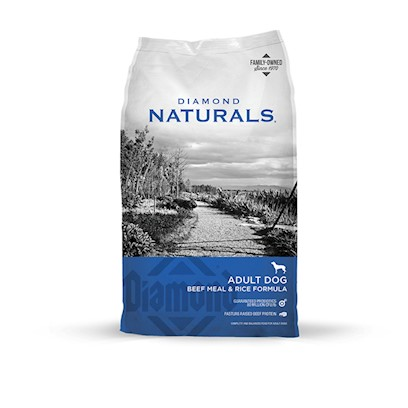 Diamond Pet Foods Presents Diamond Naturals Beef Meal and Rice Dry Food for Adult Dogs Dog 40lb. Beef Protein Provides Optimal Nutrition for Dogs that Prefer the Taste of Beef, or are Sensitive to Chicken or Corn. Guaranteed Levels of Vitamin E and Selenium Ensure that your Dog is Receiving Optimum Antioxidant Nutrition, while Omega-6 and Omega-3 Fatty Acids Keep the Skin and Coat Healthy and Shiny. [27345]