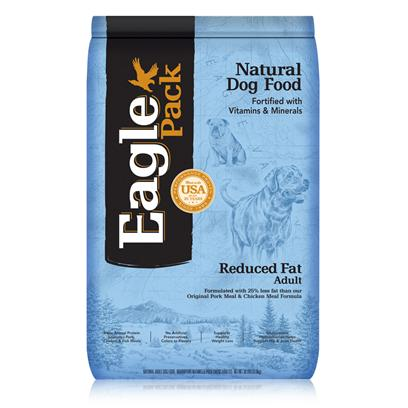 Wellpet Presents Eagle Pack Natural Pet Food Reduced Fat Formula for Adult Dogs 15lb Bag. At Eagle Pack, we Know you Count on your Pet to be by your Side through all of Life's Adventures. For over 25 Years, We've Energized Best Friends Everywhere by Providing them Quality Natural Nutrition without Fillers or Artificial Preservatives. Our Foods Deliver the Right Balance of Proteins, Fats, Carbohydrates, Antioxidants and Omega Fatty Acids for Results you can see - Shiny Coat, Bright Eyes, Good Digestion and Energetic Spirit. Over the Years, our Formulas have been Performance-Proven with Backyard Ball Catchers, Show Ring Winners and Even Alaskan Dog Sled Racers. You Too can Count on our American-Made Foods to Naturally Fuel your Pet's Daily Adventures, Both Big and Small. Formulated with 25% Less Fat than our Original Pork Meal &amp; Chicken Meal Formulaformulated with 8% Fewer Calories than our Original Pork Meal &amp; Chicken Meal Formula to Help Achieve Weight Loss Goals.Instead, our Formulas are Preserved Naturally and Include Healthy, Flavorful Ingredients.A Variety of Proteins Help Support Healthy Muscle Tone while Providing a Great Flavor Dogs Love.Additional Nutritional Support Comes from Glucosamine Hydrochloride to Help Mantain Joint Health and Flaxseed to Support Skin and Coat Health.Fortified with our Complete Citamin and Mineral Package; Antioxidants Like Vitamin C Help Support Healthy Immune Function. [27353]