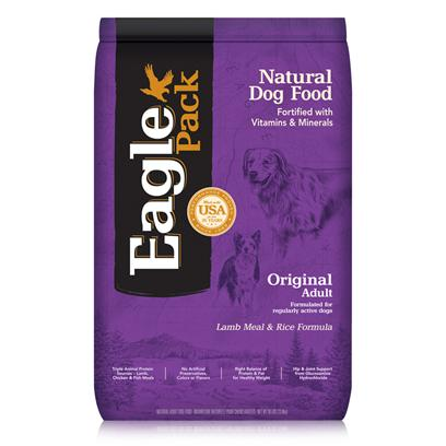 Wellpet Presents Eagle Pack Natural Dry Dog Food Original Adult Lamb Meal &amp; Rice Formula 30lb Bag. Our Foods Deliver the Right Balance of Proteins, Fats, Carbohydrates, Antioxidants and Omega Fatty Acids for Results you can see  Shiny Coat, Bright Eyes, Good Digestion and Energetic Spirit. Over the Years, our Formulas have been Performance-Proven with Indoor Sun Loungers, Neighborhood Prowlers and Outdoor Butterfly Chasers. You Too can Count on our American-Made Foods to Naturally Fuel your PetS Daily Adventures, Both Big and Small. Eagle Pack is Nutrition in Action.Wholesome Grain &amp; Fiberbrown Rice and Oatmeal Provide Natural Nutrients and Fiber for Healthy Digestion and Firm Stools.No Artificial Preservatives or Flavorsinstead, our Formulas are Preserved Naturally and Include Healthy, Flavorful Ingredients.Triple Animal Proteinsa Variety of Proteins Help Support Healthy Muscle Tone while Providing a Great Flavor Dogs Love.Healthy Supplementsadditional Nutritional Support from Glucosamine Hydrochloride to Help Maintain Joint Health and Flaxseed to Support Skin and Coat Health.Antioxidant Supportfortified with our Complete Vitamin and Mineral Package; Antioxidants Like Vitamin C to Support Healthy Immune Functio [27354]