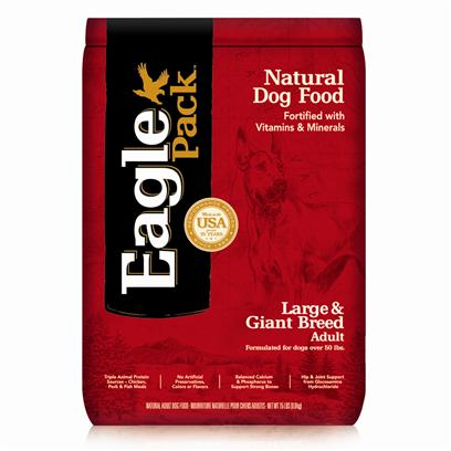Wellpet Presents Eagle Pack Natural Dog Food Large &amp; Giant Breed Adult Formula 15lb Bag. Our Foods Deliver the Right Balance of Proteins, Fats, Carbohydrates, Antioxidants and Omega Fatty Acids for Results you can see  Shiny Coat, Bright Eyes, Good Digestion and Energetic Spirit. Over the Years, our Formulas have been Performance-Proven with Indoor Sun Loungers, Neighborhood Prowlers and Outdoor Butterfly Chasers. You Too can Count on our American-Made Foods to Naturally Fuel your PetS Daily Adventures, Both Big and Small. Eagle Pack is Nutrition in Action.Helps Maintain Healthy Weightthe Right Amount of Protein, Fat and Carbohydrates to Help Larger Dogs Stay Lean and Fit.No Artificial Preservatives or Flavorsinstead, our Formulas are Preserved Naturally and Include Healthy, Flavorful Ingredients.Triple Animal Proteinsa Variety of Proteins Help Support Healthy Muscle Tone while Providing a Great Flavor Dogs Love.Healthy Supplementsadditional Nutritional Support from Glucosamine Hydrochloride to Help Maintain Joint Health and Flaxseed to Support Skin and Coat Health.Antioxidant Supportfortified with our Complete Vitamin and Mineral Package; Antioxidants Like Vitamin C to Support Healthy Immune Function. [27356]