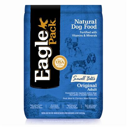 Wellpet Presents Eagle Pack Natural Dry Dog Food Original Adult Pork Meal &amp; Chicken Formula 15lb. At Eagle Pack, we Know you Count on your Pet to be by your Side through all of LifeS Adventures. For over 25 Years, weVe Energized Best Friends Everywhere by Providing them Quality Natural Nutrition without Fillers or Artificial Preservatives. Our Foods Deliver the Right Balance of Proteins, Fats, Carbohydrates, Antioxidants and Omega Fatty Acids for Results you can see - Shiny Coat, Bright Eyes, Good Digestion and Energetic Spirit. Over the Years, our Formulas have been Performance-Proven with Backyard Ball Catchers, Show Ring Winners and Even Alaskan Dog Sled Racers. You Too can Count on our American-Made Foods to Naturally Fuel your PetS Daily Adventures, Both Big and Small. Nutrition Analysis Crude Protein (Min.) 25.00% Crude Fat (Min.) 15.00% Crude Fiber (Max.) 4.00% Moisture (Max.) 10.00% what it's Made without no Artificial Colors, Flavors of Preservatives [27359]