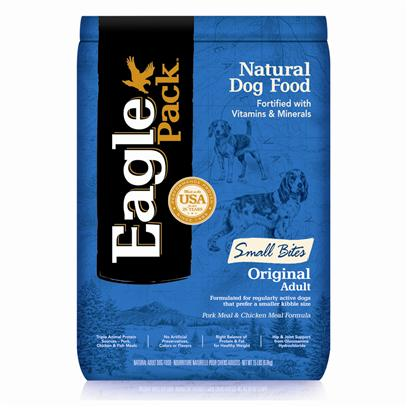 Wellpet Presents Eagle Pack Natural Dry Dog Food Original Adult Small Bites Pork Meal &amp; Chicken Formula 15lb Bag. At Eagle Pack, we Know you Count on your Pet to be by your Side through all of Life's Adventures. For over 25 Years, We've Energized Best Friends Everywhere by Providing them Quality Natural Nutrition without Fillers or Artificial Preservatives. Our Foods Deliver the Right Balance of Proteins, Fats, Carbohydrates, Antioxidants and Omega Fatty Acids for Results you can see - Shiny Coat, Bright Eyes, Good Digestion and Energetic Spirit. Over the Years, our Formulas have been Performance-Proven with Backyard Ball Catchers, Show Ring Winners and Even Alaskan Dog Sled Racers. You Too can Count on our American-Made Foods to Naturally Fuel your Pet's Daily Adventures, Both Big and Small. Formulated for Regularly Active Dogs that Prefer a Small Kibble Size [27360]