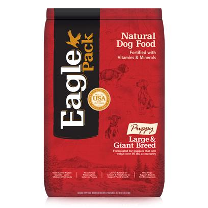 Wellpet Presents Eagle Pack Natural Dry Dog Food Large &amp; Giant Breed Puppy Formula 30lb Bag. Our Foods Deliver the Right Balance of Proteins, Fats, Carbohydrates, Antioxidants and Omega Fatty Acids for Results you can see  Shiny Coat, Bright Eyes, Good Digestion and Energetic Spirit. Over the Years, our Formulas have been Performance-Proven with Indoor Sun Loungers, Neighborhood Prowlers and Outdoor Butterfly Chasers. You Too can Count on our American-Made Foods to Naturally Fuel your PetS Daily Adventures, Both Big and Small. Eagle Pack is Nutrition in Action.Triple Animal Proteinsa Variety of Proteins Help Support Healthy Muscle Development while Providing a Great Flavor Puppies Love.Supports Optimal Growth Ratecontrolled Calories and Balanced Mineral Levels Help Support the Proper Pace of Muscular and Skeletal Growth.Dha for Brain &amp; Eye Healthdha, a Fatty Acid also Found in MotherS Milk, Helps Support Optimal Development of the Brain and Eyes.Strong Immune Systemfortified with our Complete Vitamin and Mineral Package; Antioxidants Like Vitamin C Help Support Healthy Immune Function. No Artificial Preservatives or Flavorsinstead, our Formulas are Preserved Naturally and Include Healthy, Flavorful Ingredients. [27366]