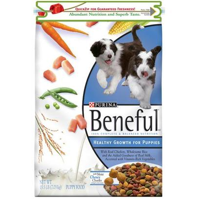 Purina Presents Purina Beneful Healthy Growth for Puppies 15.5lb Bag. Beneful® Brand Puppy Food Healthy Growth for Puppies Helps your New Friend Grow Happy, Healthy, and Strong with its Nutritious Formula just for Puppies. It'S Made with Real Chicken, Wholesome Rice, and the Added Goodness of Real Milk, and Accented with Vitamin-Rich Vegetables. Beneful Healthy Growth for Puppies is also Formulated to Meet the Nutritional Levels Established by the Association of American Feed Control Officials (Aafco) Dog Food Nutrient Profiles for all Life Stages. [27403]