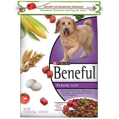 Nestle Purina Petcare Presents Purina Beneful Playful Life Hi Protein Dry Dog Food 31.1lb Bag. Analysiscrude Protein (Min)27.5%Calcium (Ca) (Min)1.1%Crude Fat (Min)11.0%Iron (Fe) (Min)150 Mg/Kgcrude Fiber (Max)4.0%Selenium (Se) (Min)0.2 Mg/Kgmoisture (Max)14.0%Vitamin a (Min)10,000 Iu/Kglinoleic Acid (Min)1.5%Vitamin E (Min)100 Iu/Kg [27412]