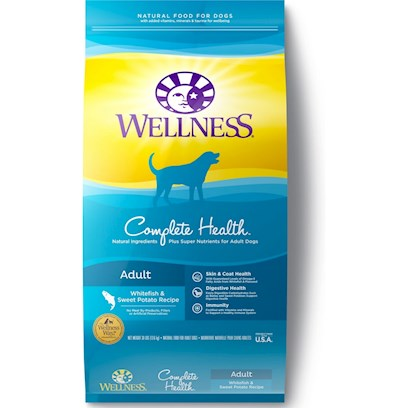 Wellpet Presents Wellness Super5mix Complete Health-Fish and Sweet Potato Dry Dog Food 15lb Bag. Some Dogs may be Allergic to Certain Proteins, Carbohydrates and Food Additives that Result in Itchy, Flaky Skin and Ear-Related Conditions. Feeding a Limited Ingredient Diet Reduces the Number of Possible Allergens Introduced to your Dog through Food. In Creating our Super5mix Complete Health Whitefish &amp; Sweet Potato Recipe, we Carefully Chose a Few, Easily Digestible Ingredients to Help Dogs with Skin and Coat Issues that may be Related to Food Intolerances and Allergies. Key Benefits  Limited Ingredients to Reduce the Possibility of an Intolerance Problem  Single Animal Protein Source (Fish) for Sensitive Stomachs and Food Intolerances  Omega-Rich to Naturally Maintain Healthy Skin and Glossy Coat  Supports Digestive Health and Maximum Nutrient Absorption  no Wheat, Meat by-Products, or Artificial Colors, Flavors or Preservatives Nutrition Analysis Crude Protein not Less than 22.0% Crude Fat not Less than 12.0% Crude Fiber not More than 5.0% Moisture not More than 11.0% Calcium not Less than 1.0% Phosphorus not Less than 0.75% Vitamin E not Less than 150 Iu/Kg Omega 6 Fatty Acids* not what it's Made without Meat by-Products, Corn or Corn Gluten, Soy, Artificial Preservatives, Wheat or Wheat Gluten or Artificial Flavors, Colors or Dyes [27424]
