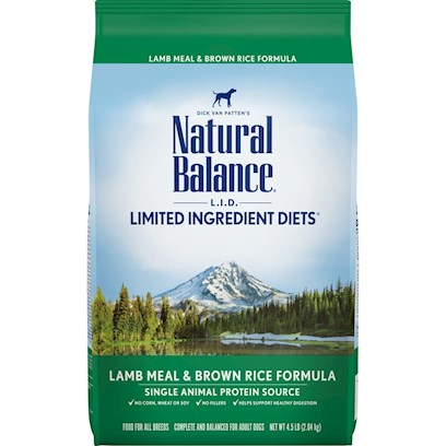 Natural Balance Presents Natural Balance L.I.D. (Limited Ingredients Diets) Lamb Meal and Brown Rice Dry Dog Food 15 Lbs. Natural Balance L.I.D. Limited Ingredient Diets Lamb Meal &amp; Brown Rice Formula is a Grain-Free Formula for Dogs with Sensitivities to Common Pet Food Ingredients Based on our Unique Protein and Carbohydrate Blend. [37304]