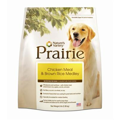 Nature's Variety Presents Nature's Variety Prairie-Chicken Meal and Brown Rice Medley Dry Dog Food 30lb Bag. No Fillers, no Corn, no Wheat, no Soy - Proven to Provide Great Taste and Nutrition Perfect for Small to Large Dogs Made in the Usa all Natural with Essential Vitamins and Minerals Prairie Products are Designed so you can Feed Multiple Varieties in Cans and Kibble [27445]