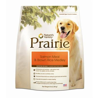 Nature's Variety Presents Nature's Variety Prairie Salmon Meal &amp; Brown Rice Medley Dry Dog Food 30lb Bag. No Fillers, no Corn, no Wheat, no Soy - Proven to Provide Great Taste and Nutrition Perfect for Small to Large Dogs Made in the Usa all Natural with Essential Vitamins and Minerals Prairie Products are Designed so you can Feed Multiple Varieties in Cans and Kibble [27451]